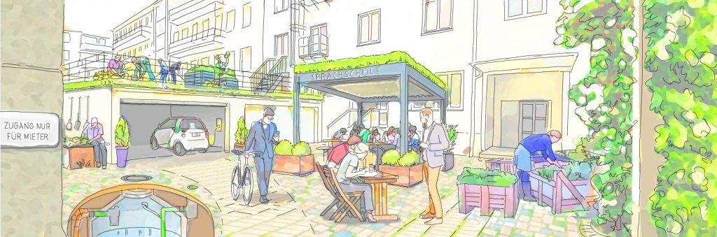 FreiRAUM Goethestrasse. Eine skizzierte Vision. (c) Green City e.V.