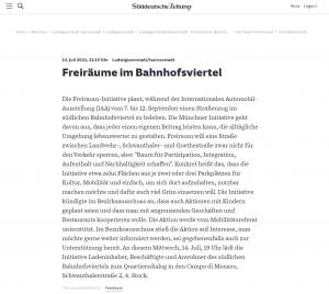 20210713 - sueddeutsche - FreiRAUM-Viertel - Freiräume im Bahnhofsviertel - Screenshot