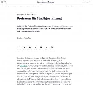 20210727 - sueddeutsche - FreiRAUM-Viertel - Freiraum für Stadtgestaltung -Screenshot